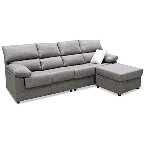 Mueble Sofa ChaiseLongue, Subida Domicilio, Cuatro plazas, Color Gris, cheslong Anti Manchas...