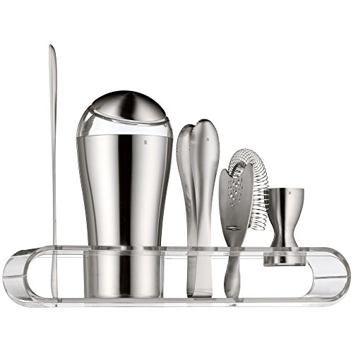 WMF Loft Cocktail Set, 6-teilig, Bar-Set, mit Shaker 600 ml, Barmaß, Cocktail Sieb, Barlöffel, Eiszange und Präsenter, Cromargan Edelstahl mattiert, spülmaschinengeeignet