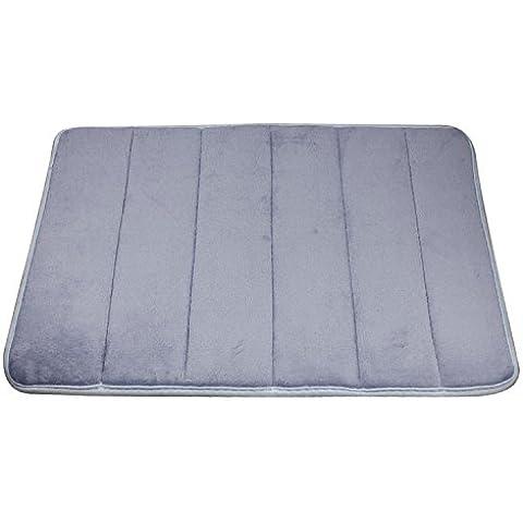 Ularma Mantas rayas verticales memoria espuma alfombra de baño, tapetes de alfombra (gris)