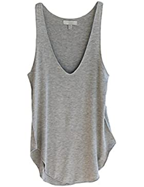 OULII Camiseta Sin Mangas Top para Mujer Blusa Camisa Chaleco de Verano Sin Mangas V Cuello Gris