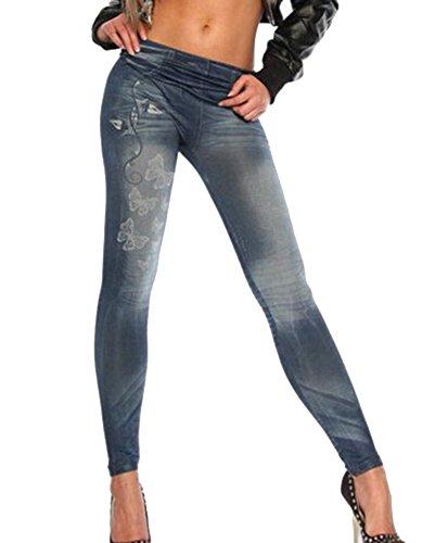 Mujer Estampados Leggins Jeggings Vaqueros Se Ven Pantalones De Cintura Alta Leggings Azul Talla única