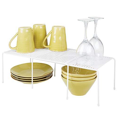 mDesign étagère de cuisine - égouttoir pratique en métal pour plus d'espace de rangement - étagère cuisine télescopique et empilable - blanc