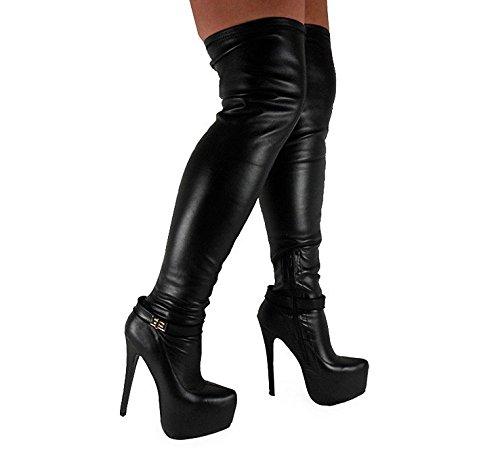 Mesdames Femme Sexy sur le genou cuisse haut talon Stiletto Bottes Stretch Taille 45678Designs Différents Black Matt (0324-3)
