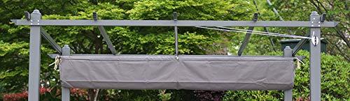 Angel Living Pergola Grauem aus Aluminium Pavilion und Polyester Verstellbares Beige Dach (3x3 Dach Abdeckung)