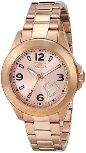 Invicta Angel Women's Quartz Watch with Rose Gold Dial  Analogue display on Rose Gold Stainless Steel Plated Bracelet 17934