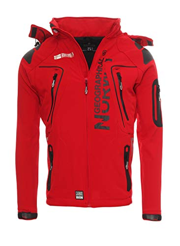 Geographical Norway Herren Softshelljacke Tambour Kapuze, Stehkragen red M