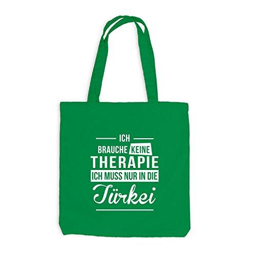 Jutebeutel - Ich Brauche Keine Therapie Türkei - Therapy Urlaub Turkey Kellygrün