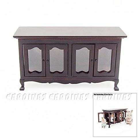 Odoria 1:12 Miniature Vintage Wood Buffet Sideboard Cabinet Dollhouse Furniture Accessories
