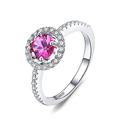 JewelryPalace Round 1.2ct Created Pink Sapphire 925 Sterling Silver Ring Size N