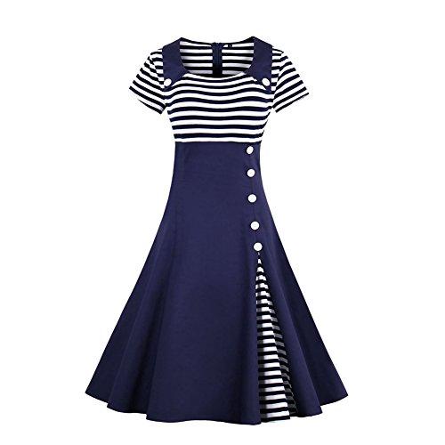 Là Vestmon Kurze Ärmel Vintage Damen Kleid,Blau ( L ) (Seiden-samt-party-kleid)