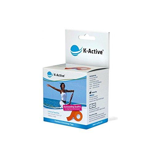 K-Active Kinesiologie Tape Elite ORANGE, mit STRATAGEL® PLUS Klebertechnologie, wasserabweisend und hypoallergen, 50 mm x 5 m, 1 Rolle
