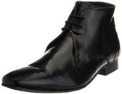 Carlton London Mens Klaus Black Leather Boots - 10 UK (CLM-1156)