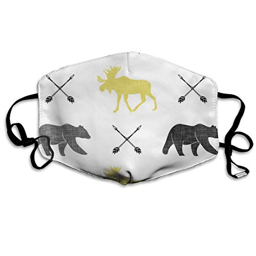 Moose Bear And Arrows Yellow Anti Dust Mask Anti Pollution Washable Reusable Mouth Masks - Straffende Peel