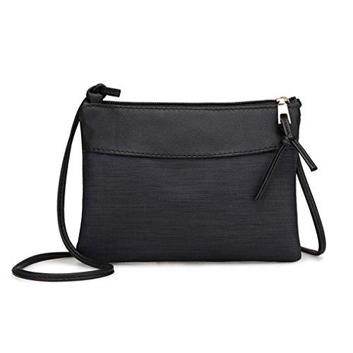 Zarupeng Frauen Retro Schulter Beutel Einzel Umhängetasche Tote Handtasche (Schwarz) (Kleine Schulter-handtasche)