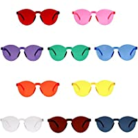10 Color Fashion Rimless Tinted Sunglasses Transparent Candy Color Eyewear for Party Favor