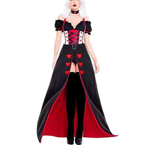 Halloween Kostüm Damen Hexe Königin Cosplay Verkleiden Party Festival Sexy Trägerlose Korsett Tops Schlitz Röcke Lang Haarreif 3-Teiliges Set (M, - Sexy 3 Teiliges Kostüm