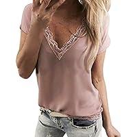 Yvelands Las Camisas de la Blusa de la Blusa del suéter del Remiendo del cordón V-Ncek de la liquidación rematan
