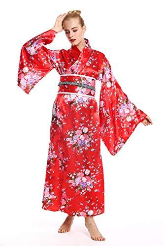Kurtisane Für Kostüm Erwachsenen - dressmeup W-0289-Kostüm Damen Frauen Karneval Geisha Japanerin Chinesin Kimono rot Kirschblüten M