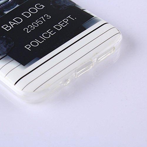 Voguecase® Pour Iphone SE, Noctilucent TPU Silicone Shell Housse Coque Étui Case Cover (la tête de loup/plume)+ Gratuit stylet l'écran aléatoire universelle chien noir