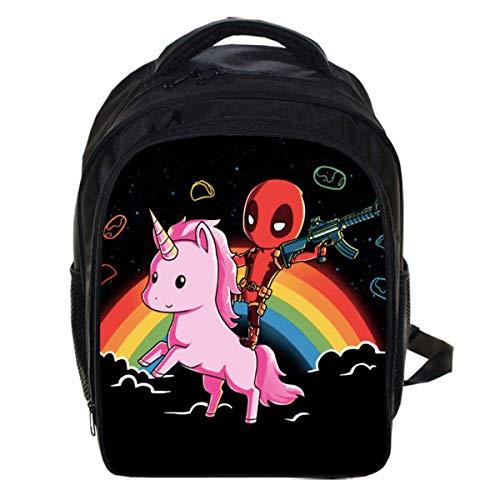 Kinderrucksack, 13 Zoll niedlichen Tier Pony Student Laptop Rucksack Oxford Material wasserdicht und tragbar Schultasche leichte große Kapazität - schwarz - neu 1 (Tier-rucksack Mit Rädern)
