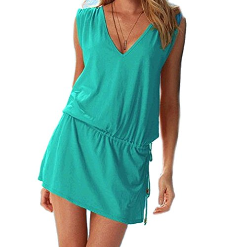 Butterme Le donne profondo scollo a V Aperto-back Beach Bikini Cover-up Estate Cover Up Beach Skirt Dress Verde