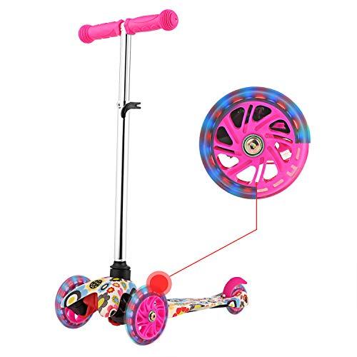 WeSkate Kinderscooter mit verstellbarem Lenker, Kinder Roller Scooter 3 Räder Kinderroller für Kleinkinder Jüngere Mädchen ab 3-10 Jahre