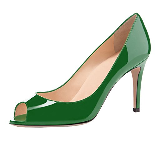 elashe Damen Peeptoe Pumps | 8cm Stiletto High Heel | Bequeme Lack Stilettos Grün EU39 Patent Stiletto Pump