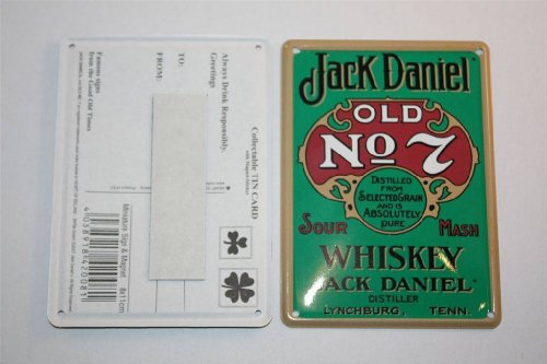 Jack Daniels Whiskey Blechkarte Green Label 8x11 cm + Magnetfolie