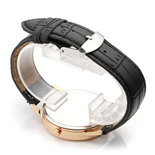 JSDDE Uhren,Vintage Damen Armbanduhr Skizze Elefant Zifferblatt Armbanduhr Leder Armband Analog Quarz Uhr,Schwarz - 3