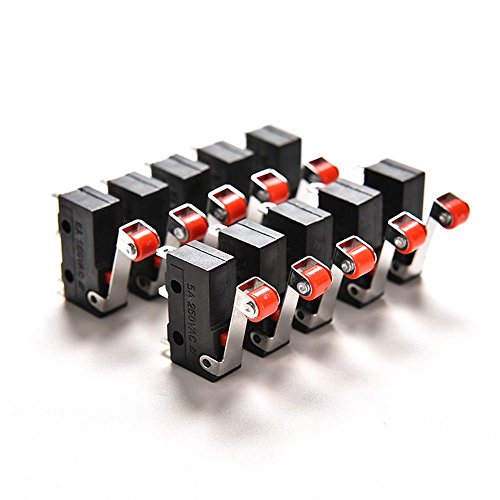 WINOMO Premium Mini Mikroschalter Roller Hebel Arm SPDT Endschalter Snap Aktion viel -10 Stück - Mikroschalter Snap