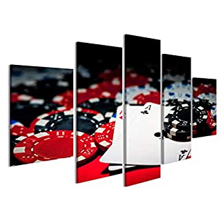 islandburner Canvas Wall Art Pair of aces and poker chips Picture Poster Large XXL Photo Print JFA-MFP-UK