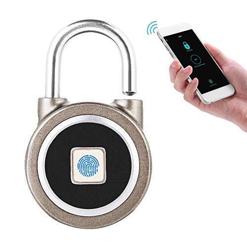 Smart Fingerprint Keyless Waterproof Lock App Control de Seguridad Candado Antirrobo 15 Juegos de Huellas...