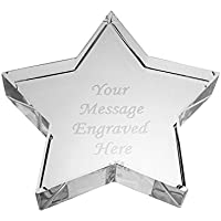 Personalised Crystal Glass Star Paperweight - Engraved - Enter Your Custom Text