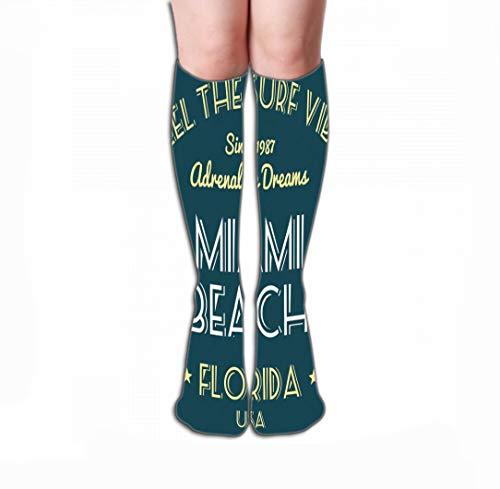 Men Women Outdoor Sports High Socks Stocking surf Vibe Design Fashion Surfing Vacation Typography Miami Beach Florida Tile Length 19.7