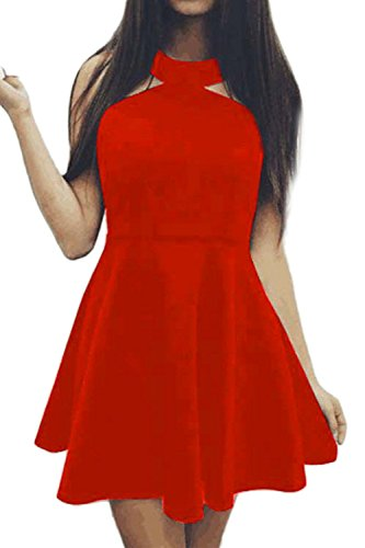 Damen ärmellose rückenfreie Swing Partykleid Red