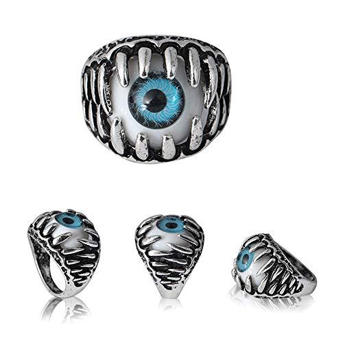 Cwemimifa Frauen 925 Sterling Silber Ringe Zarter Echtschmuck Damen Midi Ring, Herrschende übertriebene Persönlichkeit Augenring Augapfelring Augapfelring, Blau, 10#