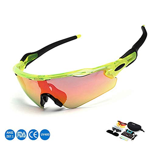XINLAI Outdoor UV-Schutz Sportbrillen Sonnenbrille Mit Austauschbaren GläSern TR Halbrahmen Polarisierte Reitbrille Winddichte Brille FüR Den AußEnbereich Geschenk FüNf Ersatz-Objektive (B)