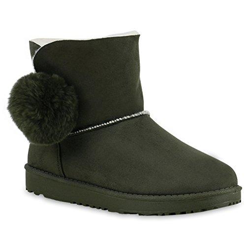 Warm Gefütterte Damen Stiefeletten Glitzer Stiefel Schlupfstiefel Boots Dunkelgrün Bommel