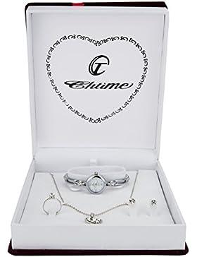 Geschenkset Damen Armbanduhr Silber- Schmuck Set- Halskette-Ring- Ohrringe