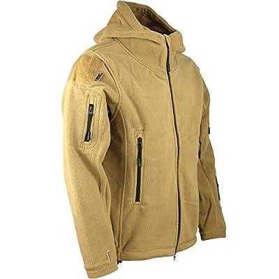 Kombat UK Forro polar militar con capucha, diseño de misión de reconocimiento, hombre, color Coyote/Tan, tamaño L