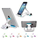 Universal Cellphone Stand Holder, Adjustable Portable Foldable Lazy Desktop Cell Phone Cradles Mount Bracket for Smartphones Tablets E-Readers iPhone Samsung Galaxy Blue