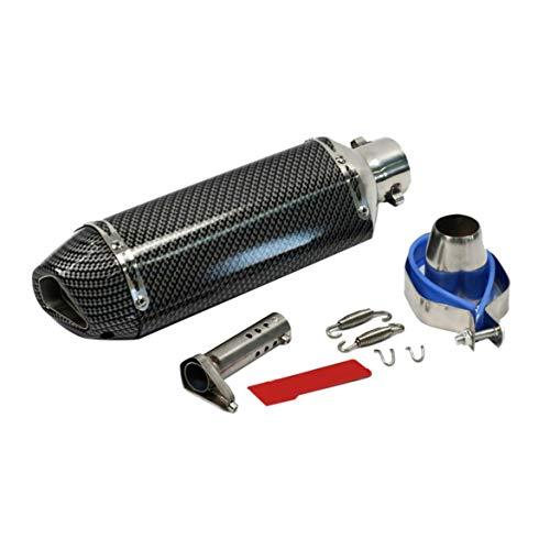 Universal Motorrad Auspuffrohr Kohlefaser Schwanz Mode Design Style Umrüstung Auspuff - Silber