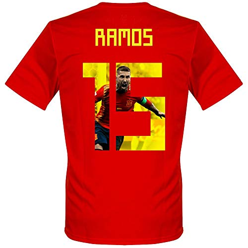Spanien Home Trikot 2018 2019 + Ramos 15 (Gallery Style) - L