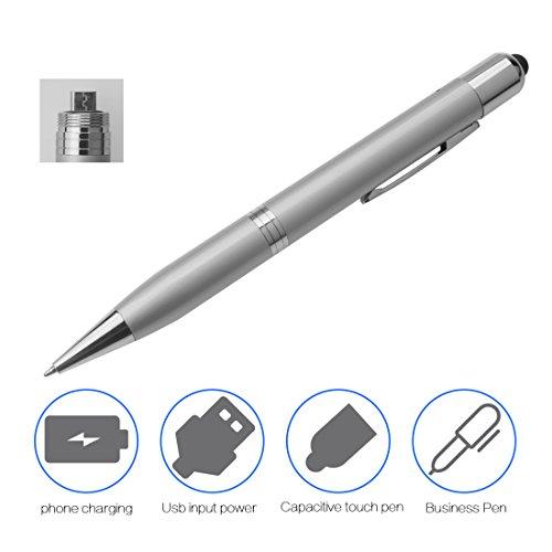 A-szcxtop de emergencia Power Bank, 1000mAh w/USB Batería + lápiz capacitivo lápiz digital sensible + bolígrafo con gancho compatible con Teléfono Android Combo 3en 1(blanco)
