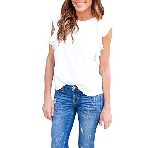 OVERDOSE Damen Frauen Trägershirts Bustier Bra Weste Ernte Bralette Shirt Bluse Cami (S, E-Weiß) (Weiß One Shoulder Perlen)