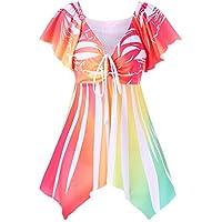 Tops para Mujer Casual Largo Estampado Digital Top con Cuello en v Manga Larga Trompeta impresión Blusa Cintura Atada Camisa Sashes para Mujeres