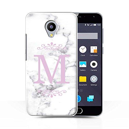 Stuff4® Personalisiert Weiß Marmor Mode Hülle für Meizu M2 Note/Gerahmt Rosa Single Design/Initiale/Name/Text Schutzhülle/Case/Etui