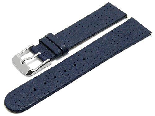 Meyhofer EASY-CLICK Uhrenarmband Adelaide 22mm dunkelblau Leder perforiert matt My2heml3019 (Adelaide Leder)