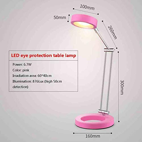 LED Desk Lamp,Modern Eye-Caring Table Lamps with Touch Control,Memory Function,6.7W/359lm Stepless Dimmable Reading Light for Office,Studying,Working-Pink