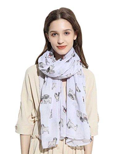 SEW ELEGANT NEU Adorable Animal Design Mops Hund Curled Tail Print Schal (Weiß)